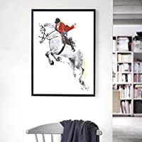 KDSMFA北欧水彩競馬ポスター抽象アートワークキャンバス絵画Hdプリント壁アート写真リビングルームの家の装飾/ 19x27インチ(フレームなし)