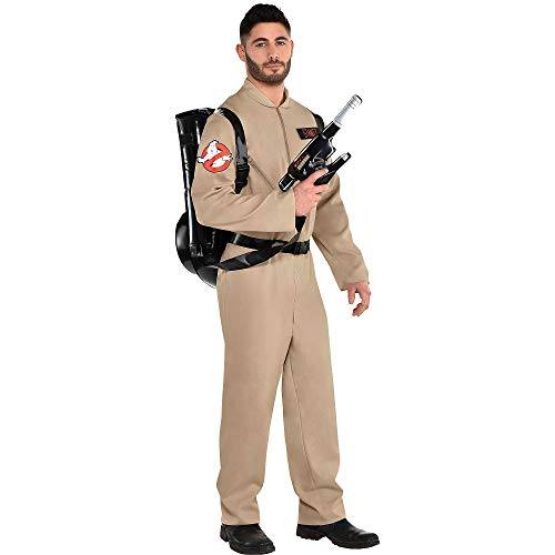 Party City Ghostbusters Costume with Proton Pack for Adults, Standard Size, Includes Jumpsuit with Zippers and Backpack