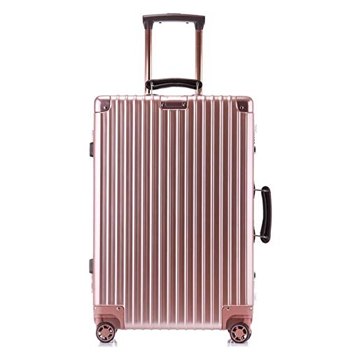 Mdsfe 20'24' 26'29' inch 100% aluminum spinner retro travel suitcase luxury brand trolley rolling luggage for traveling - Pink, a1,24