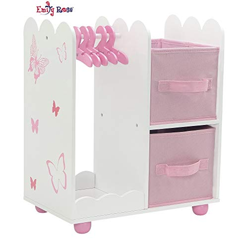 Emily Rose 18 Inch Doll Furniture for American Girl Dolls | Doll Open Wardrobe 18 Inch Doll Closet with Butterfly Detail, Includes 5 Wooden Doll Clothes Hangers | Fits Our Generation Doll Clothes