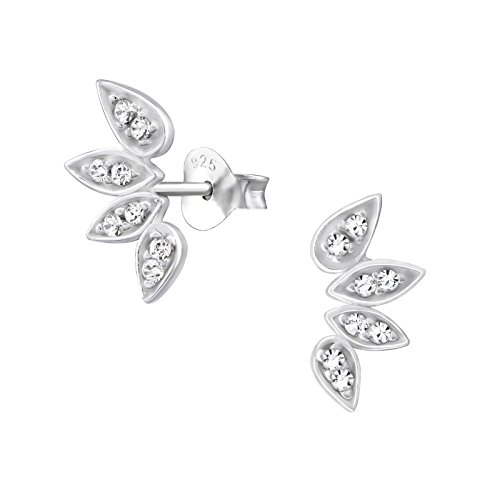 Laimons Orecchini a pressione gioielli da donna Fiore di Elf Zirconi Argento Sterling 925