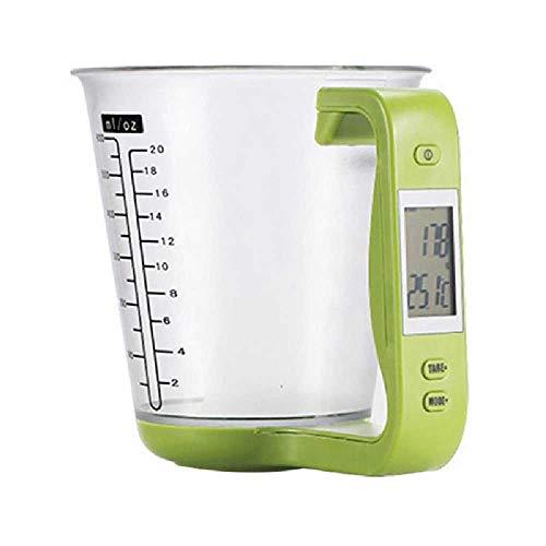 TUOLUO Pantalla LCD Taza De Temperatura Balanza De Cocina Vaso De Precipitados Digital Herramienta Electrónica Escala Temperatura Taza verde