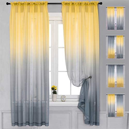 """Yancorp 2 Panel Sets Bedroom Curtains 84 inch Length Sheer Curtain Linen Yellow Grey Gray Ombre Rod Pocket Drapes for Girls Living Room Mermaid Bedroom Nursery Kids Window Decor(Yellow Grey, 40""""x84"""")"""