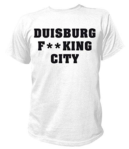 Artdiktat Herren T-Shirt - Duisburg Fucking City Größe S, Weiß