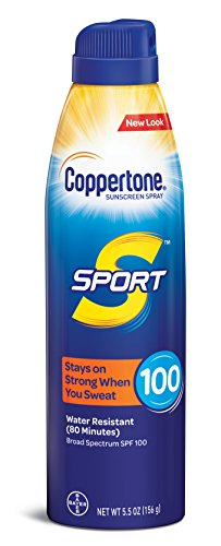 Coppertone SPORT Continuous Sunscreen Spray Broad Spectrum SPF 100 , White , (5.5 Ounce) (Packaging may vary)