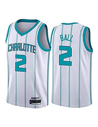 Kfdfns Camiseta de Baloncesto para Hombre NBA Charlotte Hornets # 2 Lamelo Ball Sport Vest Top Camiseta sin Mangas