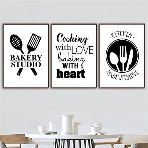 Cocina Utensilios de cocina Arte Lienzo Pinturas Utensilios Imprimir Tenedor Carteles Cotizaciones Cuadros de pared en blanco y negro Decoración de cocina 60x90cm-3Pcs Sin marco
