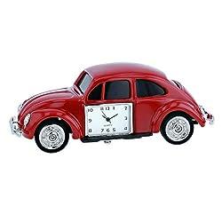 TM Red Beetle Car Miniature Ornamental Novelty Collectors Desk Clock TM29