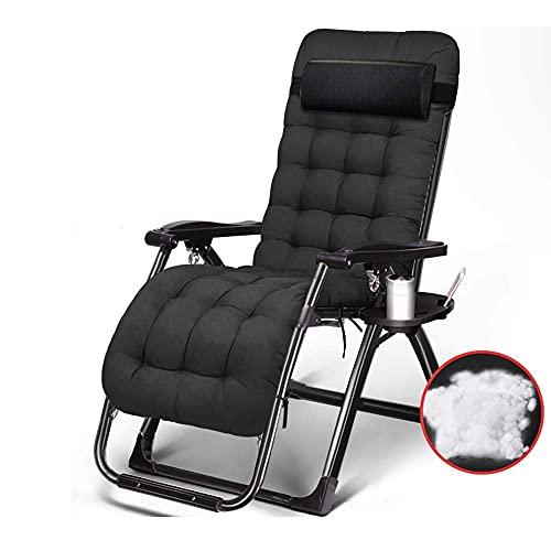 Renovierungshaus Stühle Liegestuhl Klappstuhl Liege Lunch Nap Bürostuhl Stuhl Freizeit Heimstuhl Schwarz Grau 180 * 65 * 40cm Langlebig (Farbe : Schwarz)