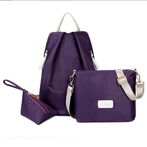 Mode Damen Rucksack einfarbig PU Leder Rucksack Studentin Schultasche Reisetasche Frauen Umhängetasche - Lila