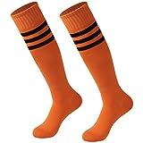 Team Soccer Socks, Calbom Men's Women Athletic Over the Knee Rugby Socks Men Boot Tube Socks Triple Stripe Baseball Volleyball Football Tube Long Knee High Socks Pack of 2 Orange One Size