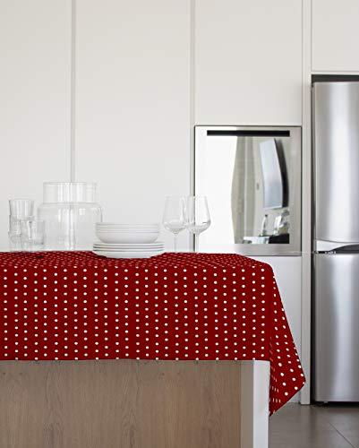 Gemitex tafelkleed van pluche, 140 x 240 cm, van PVC, met rode stippen, gemaakt in Italië