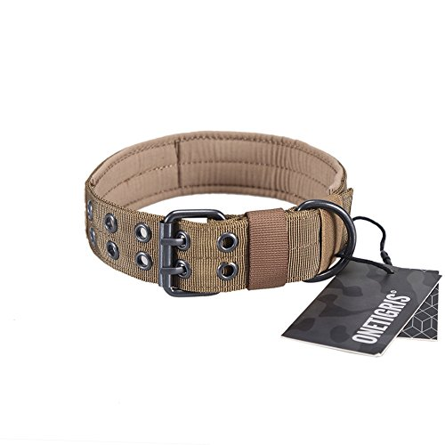 OneTigris Military Adjustable Dog Collar with Metal D Ring & Buckle 2 Sizes (Coyote Brown, L)