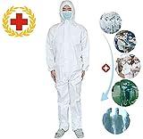 使い捨て防護服 男女兼用 血液感染対策防護服 隔離服 衛生 なぎ服 作業服 実験用防護服 (170-175cm / XL, 白)