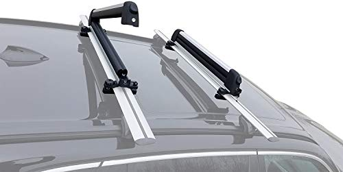 BRIGHTLINES Universal Ski Snowboard Racks Carriers 2pcs Mount on Vehicle top Cross Bars (Up to 4 Skis or 2 Snowboards)