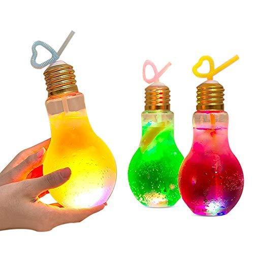 Ewin 電球ソーダ 光る電球ボトル 500ml 10個セット 原宿 Bius LED 電球ボトル 容器 500ml 光る 7色変換 電球ソーダボトル 電球型 ホームパーティー カラオケ お祭り イベント用 電球ボトル led ボタン電池交換可能 お茶 耐熱 おしゃれ ハロウィン