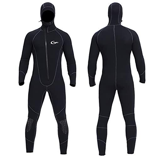 Traje de neopreno para hombre con capucha, 5 mm de neopreno de una pieza de invierno térmico para buceo, natación, buceo, surf, esnórquel, negro, L