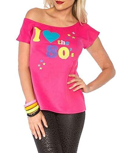 Mujer I LOVE THE AÑOS 80 POP STAR Elegante Retro Camiseta Mujer disfraz top camisetas - Rosa, Large (UK 12-14)