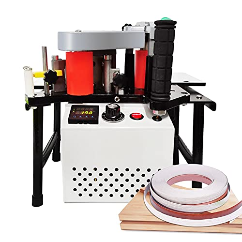 MSfullsea Woodworking Edge Bander Banding Machine Portable Edge Bander Curve Straight Edge Banding Machine Adjustable Speed 5-10m/min 110V