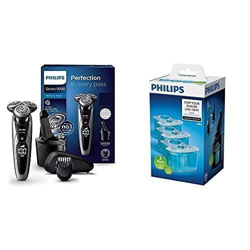 Philips Series 9000 Elektrischer Nass- und Trockenrasierer S9711/31, Gründliche & sanfte Rasur & Reinigungskartusche für Rasierer mit SmartCleanSystem JC303/50, 3er-Pack