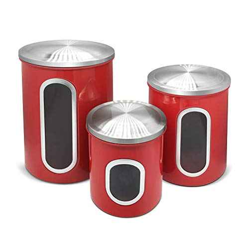 Fortune Candy Stainless Steel Canister Sets with Anti-Fingerprint Lid and Visible Window, Cereal Container Set of 3 (Raspberry Red)