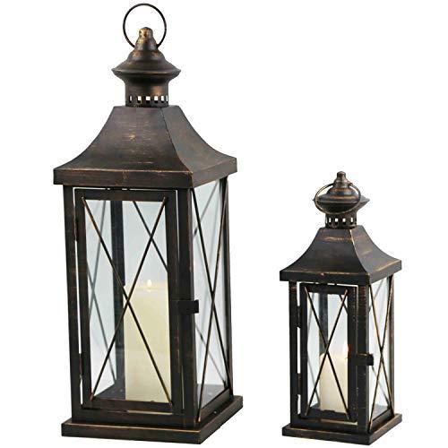 Multistore 2002 2tlg. Laternen-Set H34/50cm, Schwarz/Gold, Laterne Gartenlaterne Kerzenhalter Gartenbeleuchtung Windlicht