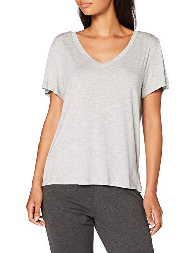 Calvin Klein S/S V Neck Camiseta de Pijama, Grey Heather, XS para Mujer