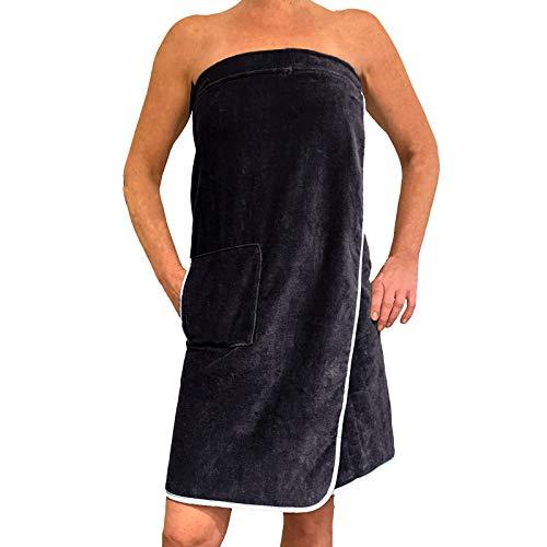 HOMELEVEL Saunakilt für Damen und Herren mit Klettverschluss und Tasche aus 100% Baumwolle Sauna Kilt Sarong (Dunkelblau/Weiss)