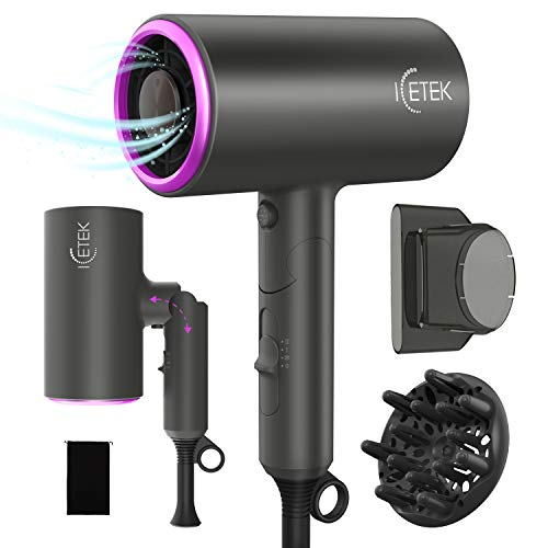 Ionic Hair Dryer, ICETEK 2000W Diffuser Hair Dryer Professional Salon Negative Ions Hair Blow Dryer, Fast Drying Travel Hair Dryer with 3 Heating/2 Speed/Cool Button Without Damaging Hair