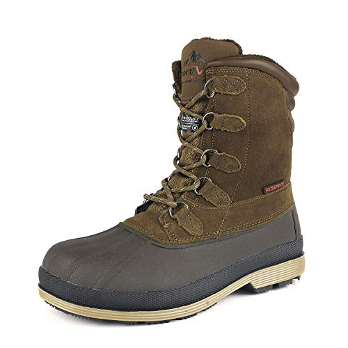 NORTIV 8 Men's 170390-M Khaki Brown Insulated Waterproof Work Snow Boots Size 11 M US