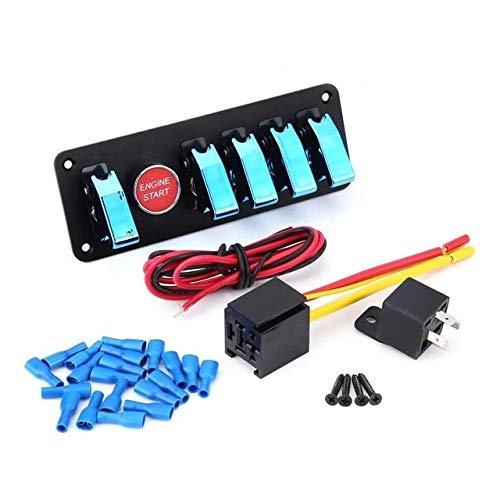 XXYHYQHJD Interruptor de 12V 40A Grupo 6 Alternar Panel de Encendido del Motor pulsador de Arranque for Racing Car Barco y RV (Color : Azul, Size : Gratis)