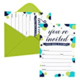 Colorful Dot Party Invitations (15 Guests) Boys Baby Shower – Happy Birthday - Gender Reveal - Graduation - Retirement – You're Invited - Fill In Blank Style Invite Cards and Envelope Set DIY