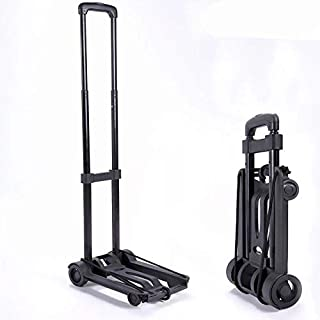 Folding Trolley Luggage Cart with Wheels Lightweight Iron Collapsible and Portable Fold Up Dolly for Travel, Moving and Of...