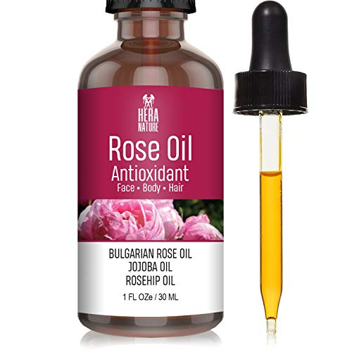 Hera Nature Rose Antioxidant Essential Oil - Pure and Natural Ingredients, in Jojoba & Rosehip Oil, Therapeutic Grade (USA) 30ML(1oz)