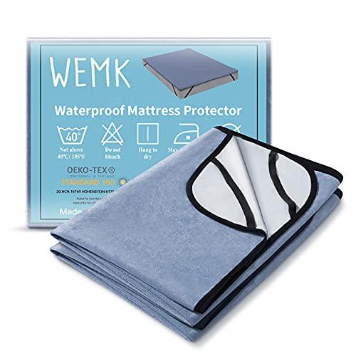 Wemk Protector de Colchón Impermeable, 140 x 200CM Cubre Colchón con 4 Bandas Elásticas, Suave y Transpirable, Anti Alergia, Anti Ácaros, Certificado ISPA, CertiPUR-EU (2 Paquete)