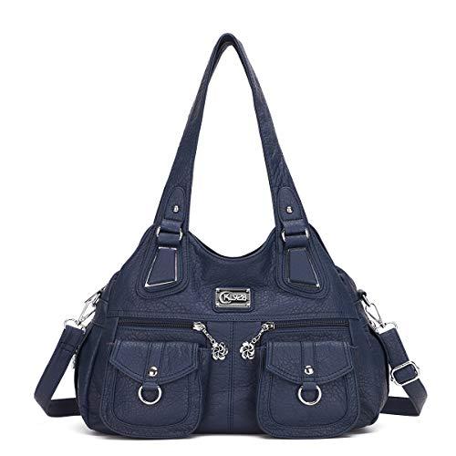 KL928 tasche handtasche damen damenhandtasche schultertasche handtaschen Henkeltasche PU weiches Leder hand taschen für frauen(1593-2-blue