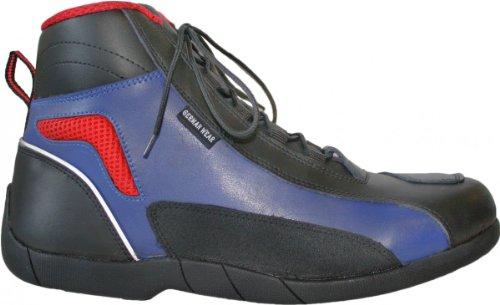 Biker Motorradstiefel Motorrad Touring Stiefel stiefletten schwarz, blau/rot 17cm, Schuhgröße:44
