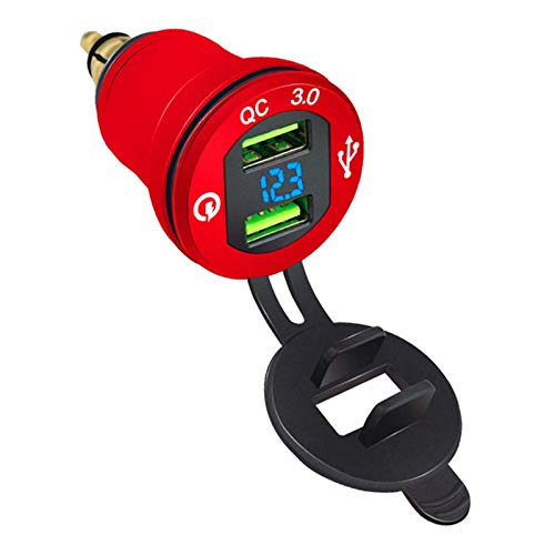 Nrpfell Cargador de Coche QC3.0 Cargador de Carga RáPida Dual USB One con 2 Pantallas Digitales con VoltíMetro Rojo con Voltaje Azul