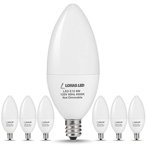 LOHAS E12 LED Candelabra Light Bulbs 6W 60 Watt Equivalent, Natural Light 4000K Chandelier Bulbs, 560 Lumen Decorative Chandelier Light Bulb, Ceiling Fan Light Bulbs, Not-dimmable, 6 Pack