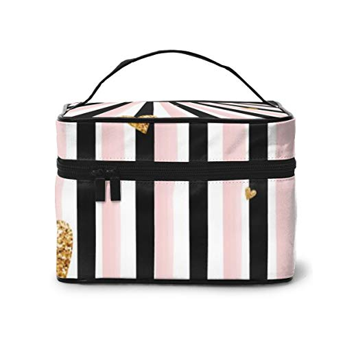 Travel Makeup Cosmetic Bags Girl Toiletry Bags Makeup Golden Hearts Vertical Stripes Background