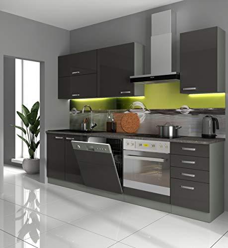 Küche Vario Basic II 240cm Küchenzeile in Hochglanz Grau Küchenblock Einbauküche