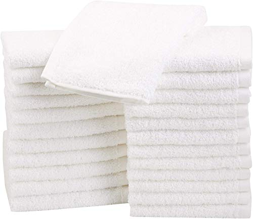AmazonBasics Fast Drying, Extra Absorbent, Terry Cotton Washcloths, White - Pack of 24