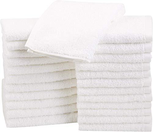 AmazonBasics Lot de 24 petites serviettes en coton 30 x 30 cm Blanc