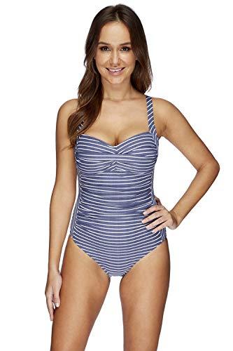 Nip Tuck Swim Riviera Stripe Denim Twist Front Design Tummy Control One Piece Swimsuit (10)