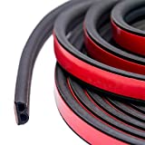 33Feet Long Universal Self Adhesive Auto Rubber Weather Draft Seal Strip 51/100 Inch Wide X 1/5 Inch Thick,Weatherstrip for Car Window and Door,Engine Cover (2 Rolls of 16.5 Ft Long)