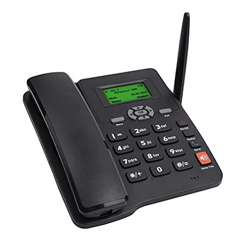 Montloxs Teléfono inalámbrico Soporte para teléfono de escritorio GSM 850/900/1800/1900 M-HZ Tarjeta SIM dual 2G Teléfono inalámbrico fijo con antena Radio Reloj despertador Función para hogar Centro