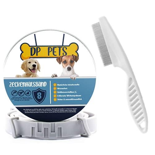 DP-Pets® Zeckenhalsband für Hunde und Katzen inklusive Floh-/Zeckenkamm | natürliche Prävention gegen Zecken und Flöhe mit organischen Inhaltsstoffen| Verstellbar | Natürliche Zeckenabwehr