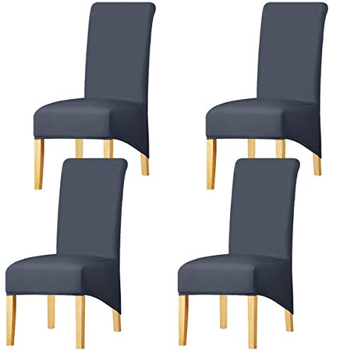 KELUINA High Back Solid Fabric Stretch XL Chair Covers for Dining Room,...