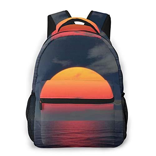 Fashion Backpack for Teen Girls Rising Sun Eclipse Casual Shoulder Bag Student Daypack Travel Laptop Bag for Men Women