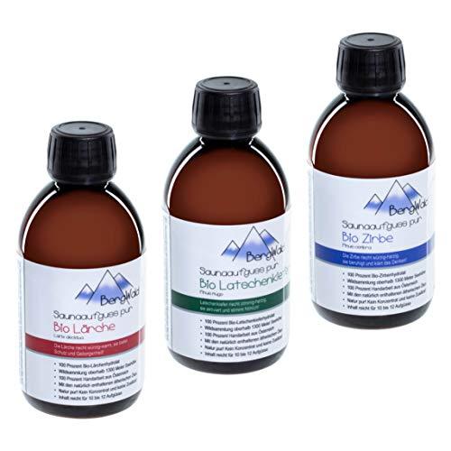 Sauna-Aufguss | 100{ea21d03bd793110d01d633232af101191e290e3c3bba53b68d338025ca6327af} bio | Saunaduft mit natürlichen ätherischen Ölen für Saunaaufgüsse | Biozertifiziert aus Wildsammlung | Naturprodukt ohne Zusätze | 250 ml (BergWald Trio (Set))